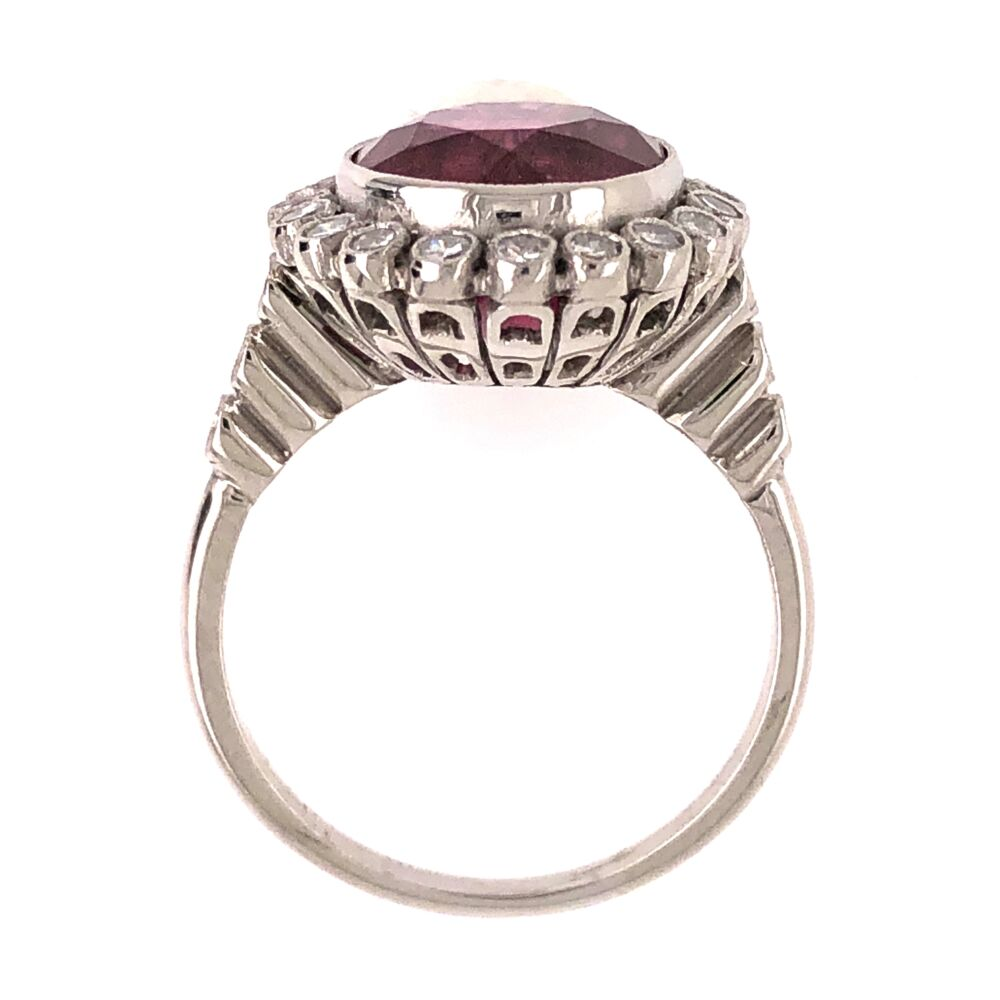 Image 2 for Platinum Art Deco 4.80ct Rubellite Pink Tourmaline & .53tcw Diamond Ring 5.8g, s6.75