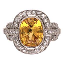 Closeup photo of Platinum Art Deco 3.18ct Yellow Sapphire & .49tcw Diamond Ring 4.4g, s6.75