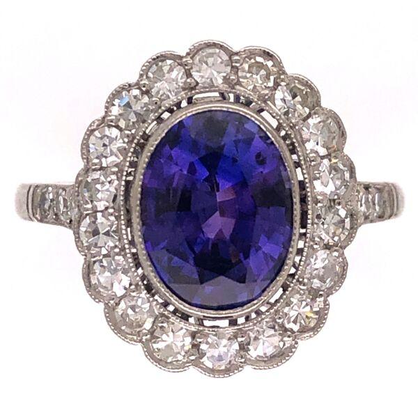Closeup photo of Platinum Art Deco 2.11ct Purple Sapphire & .56tcw Diamond Ring s6.5