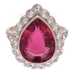 Closeup photo of Platinum 6.13ct Pear Shape Rubelite Tourmaline & .66tcw Diamond Ring s.6.75