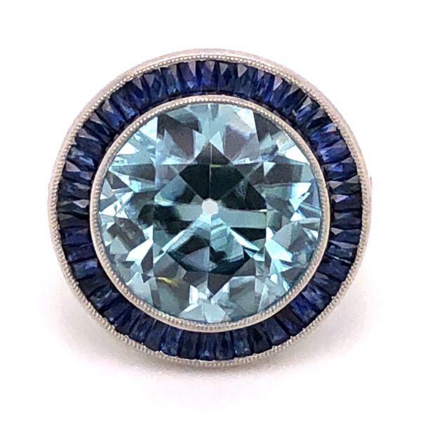 Closeup photo of Platinum - Art Deco - Blue Zircon & Sapphire Ring