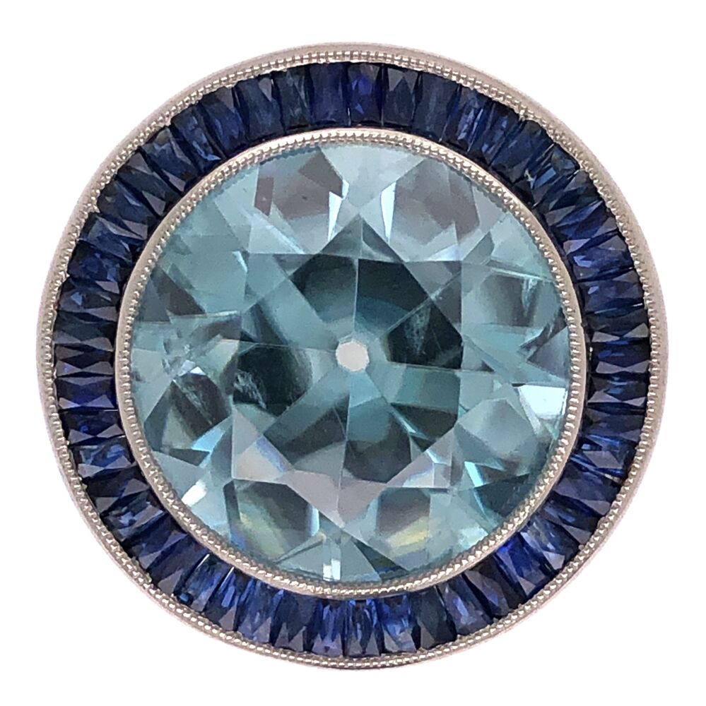 Platinum Art Deco 12.35ct Blue Zircon & 2.20tcw Sapphire Ring w/.08tcw Diamonds 9.5g, s6.5