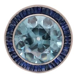 Closeup photo of Platinum Art Deco 12.35ct Blue Zircon & 2.20tcw Sapphire Ring w/.08tcw Diamonds 9.5g, s6.5