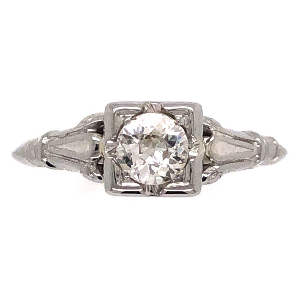 18K White Gold Art Deco .37ct Old European Diamond Ring 1.4g, s4.5
