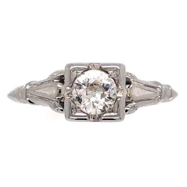 Closeup photo of 18K White Gold Art Deco .37ct Old European Diamond Ring 1.4g, s4.5