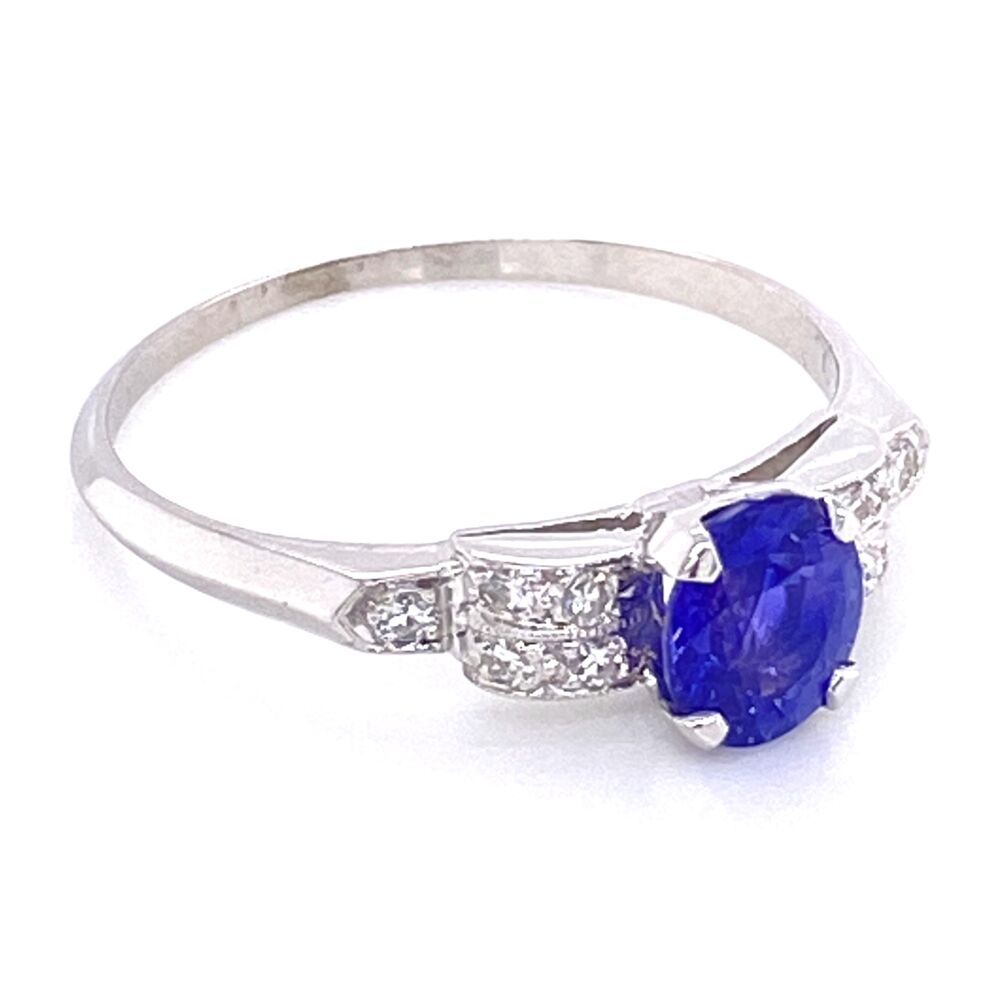 Image 2 for Platinum Art Deco .95ct Oval Purple Sapphire with .12tcw Diamonds Ring with Milgrain 2.5g, s7.5