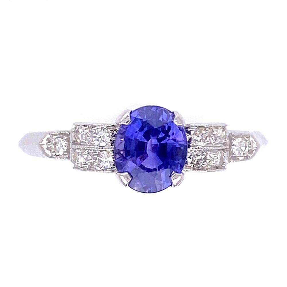 Platinum Art Deco .95ct Oval Purple Sapphire with .12tcw Diamonds Ring with Milgrain 2.5g, s7.5
