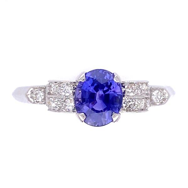Closeup photo of Platinum Art Deco .95ct Oval Purple Sapphire with .12tcw Diamonds Ring with Milgrain 2.5g, s7.5