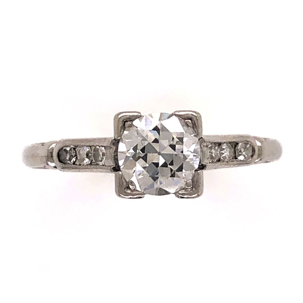 Platinum Art Deco .60ct Old European Cut Diamond Ring with .06tcw side diamonds 3.4g, s6.5
