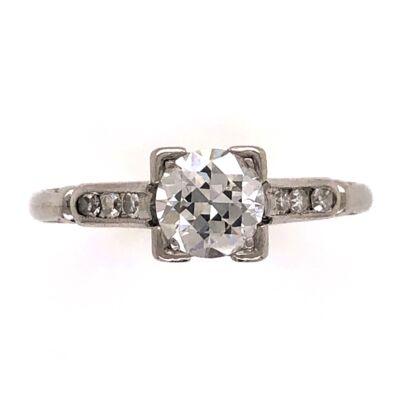 Closeup photo of Platinum Art Deco .60ct Old European Cut Diamond Ring with .06tcw side diamonds 3.4g, s6.5