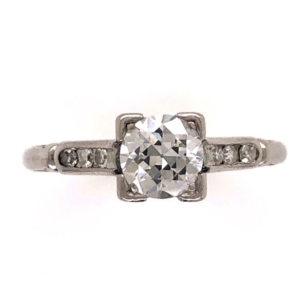 Closeup photo of Platinum Art Deco .60ct Old European Cut Diamond Ring with .06tcw side diamonds 3.4g, s6.5