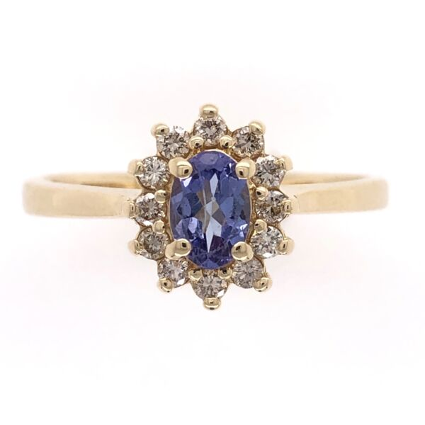 Closeup photo of 14K Yellow Gold .40ct Oval Tanzanite & .20tcw Diamond Ring 3.3g, s7.5