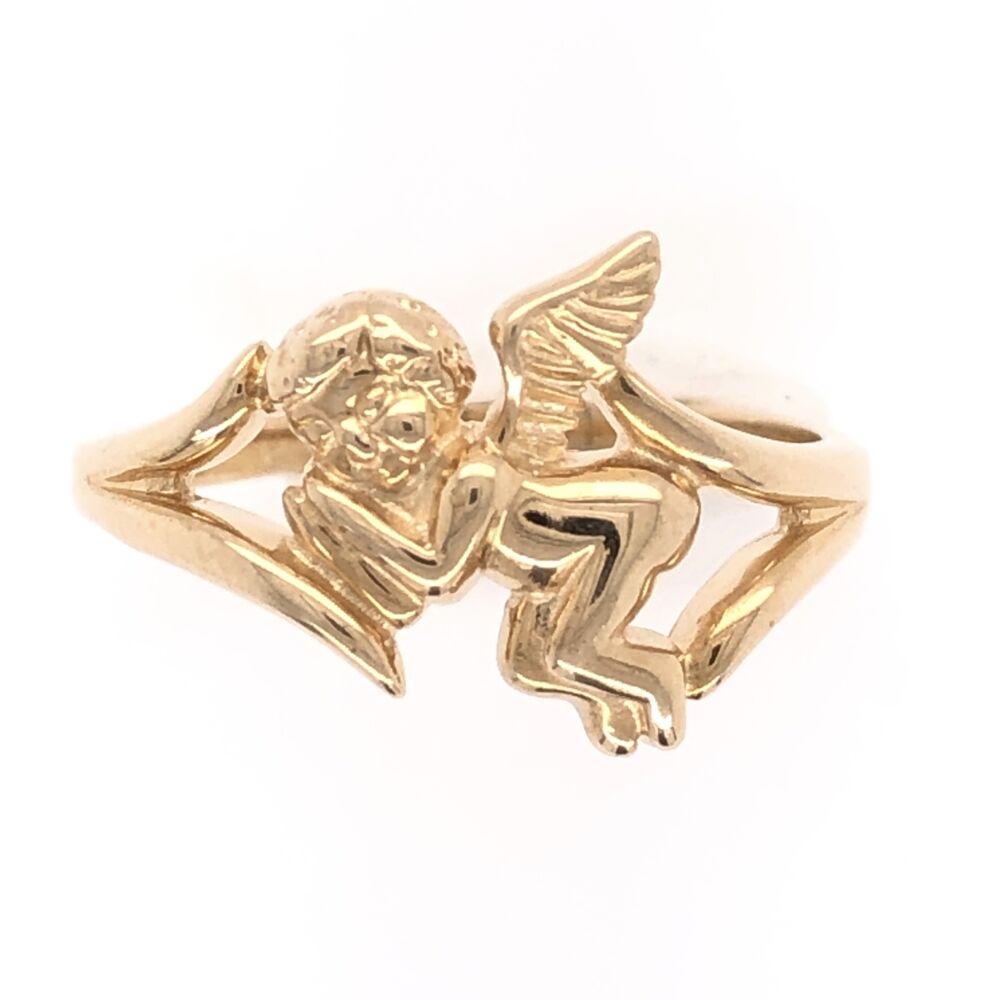 14K Yellow Gold Cherub Band Ring 2.8g, s7