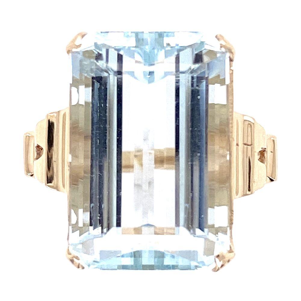 10K Yellow Gold Victorian 10.41ct Emerald Cut Aquamarine Ring, 5.95g, s6