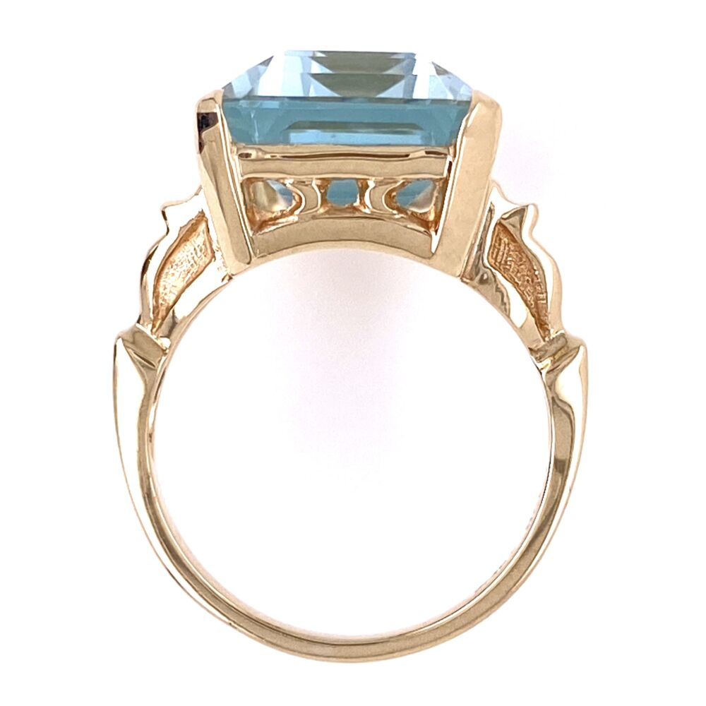 Image 2 for 10K Yellow Gold Victorian 10.41ct Emerald Cut Aquamarine Ring, 5.95g, s6