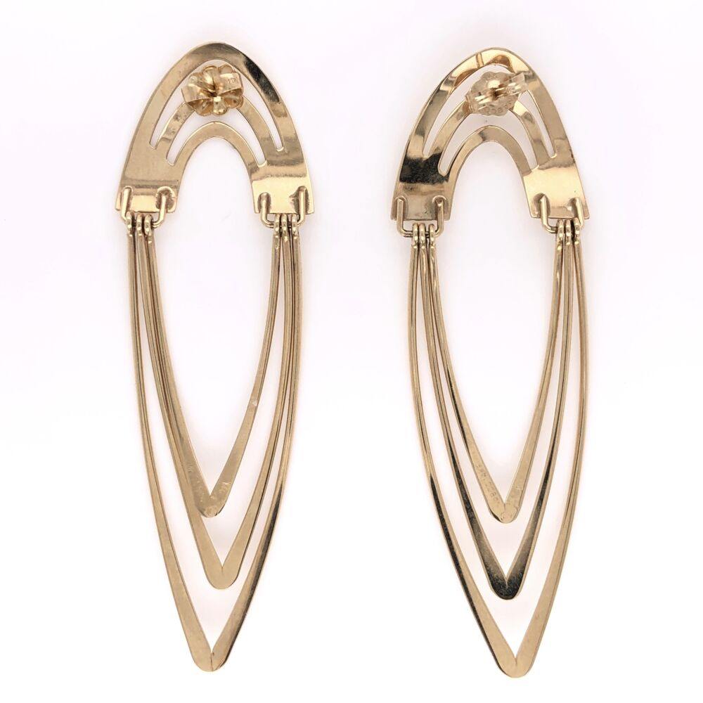 """Image 2 for 14K Yellow Gold Tall Open Wave Earrings 5.5g, 2.5"""" Tall"""