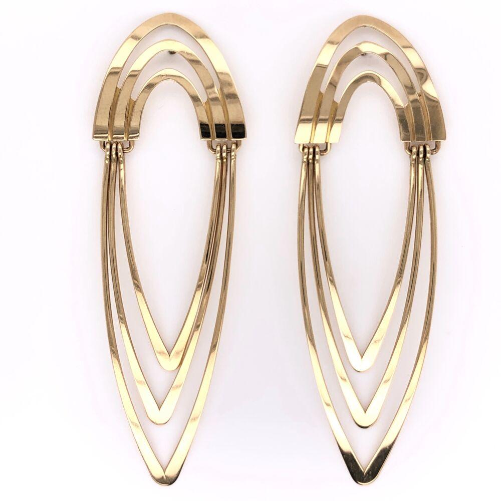 "14K Yellow Gold Tall Open Wave Earrings 5.5g, 2.5"" Tall"