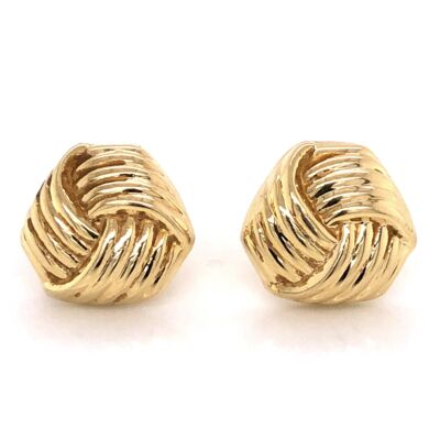 Closeup photo of 14K Yellow Gold Italian Knot Earrings with French Clips stamped B 4.6g