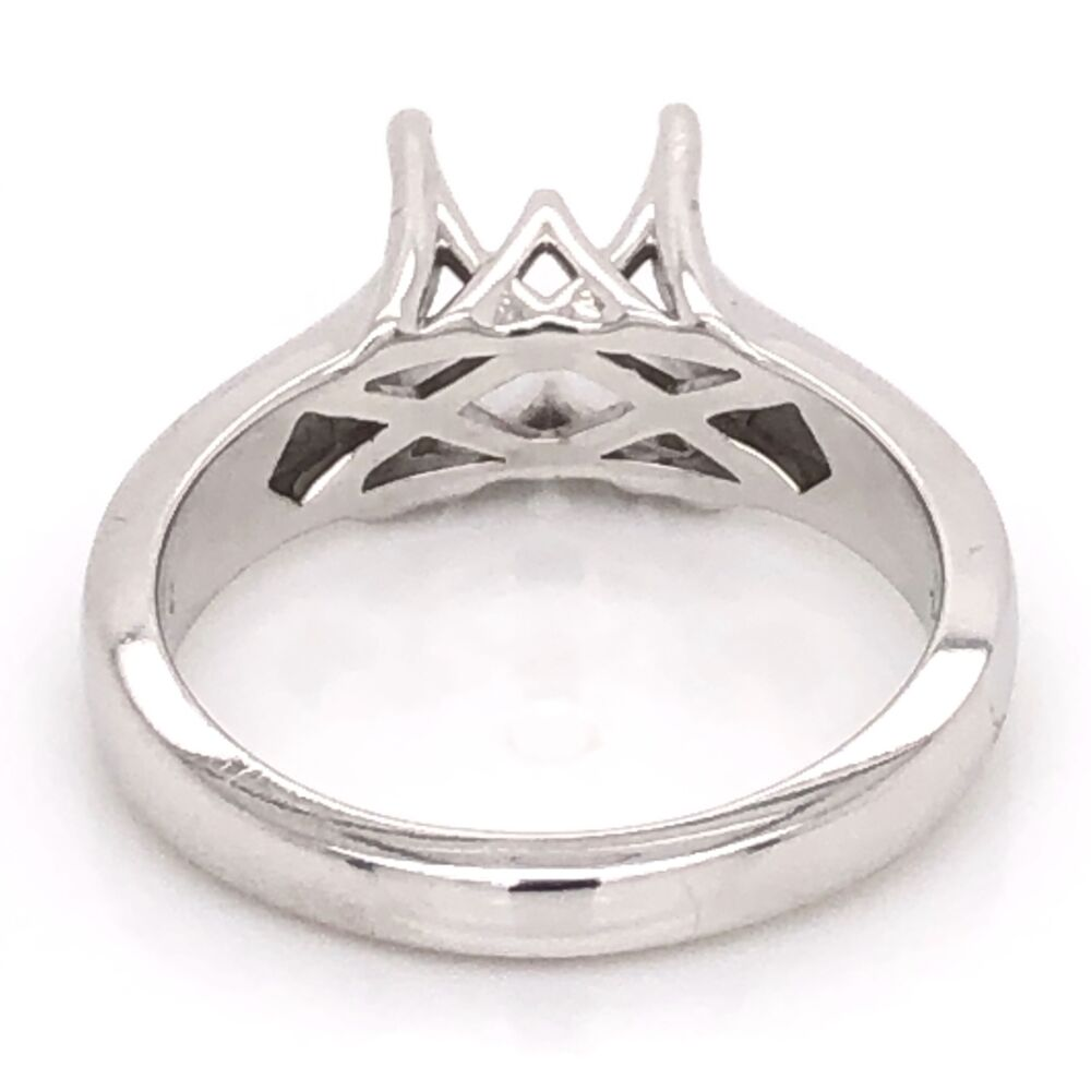 Image 2 for 14K White Gold Fancy Scroll Solitaire Semimount Ring 4.9g, s7
