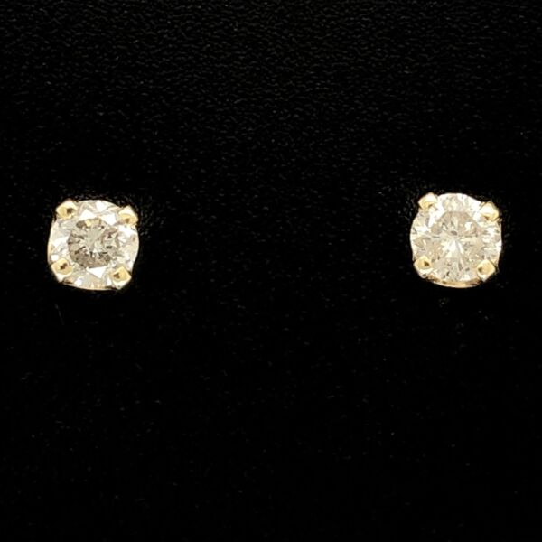 Closeup photo of 14K Yellow Gold .45tcw Stud Earrings 1.0g, Friction Backs