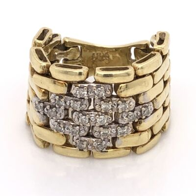 "Closeup photo of 18K Yellow Gold Mesh Link Ring with .28tcw Diamonds 12.3g, 5/8"" Wide"