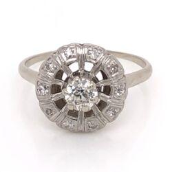 Closeup photo of 14K White Gold Round Art Deco .32ct Old European Cut Diamond Ring with .12tcw side Diamond 2.4g