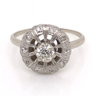 Closeup photo of 14K White Gold Round Art Deco .32ct Old European Cut Diamond Ring with .12tcw side Diamond 2.4g