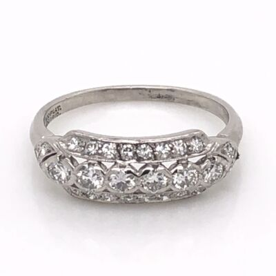 Closeup photo of Platinum Art Deco 3 Row Band Ring .55tcw Diamonds 3.0g, s5.5