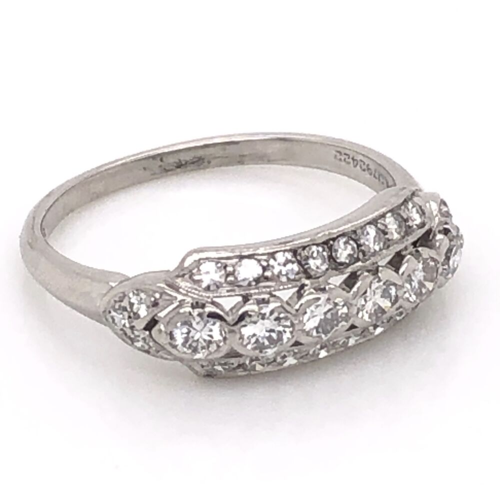 Image 2 for Platinum Art Deco 3 Row Band Ring .55tcw Diamonds 3.0g, s5.5