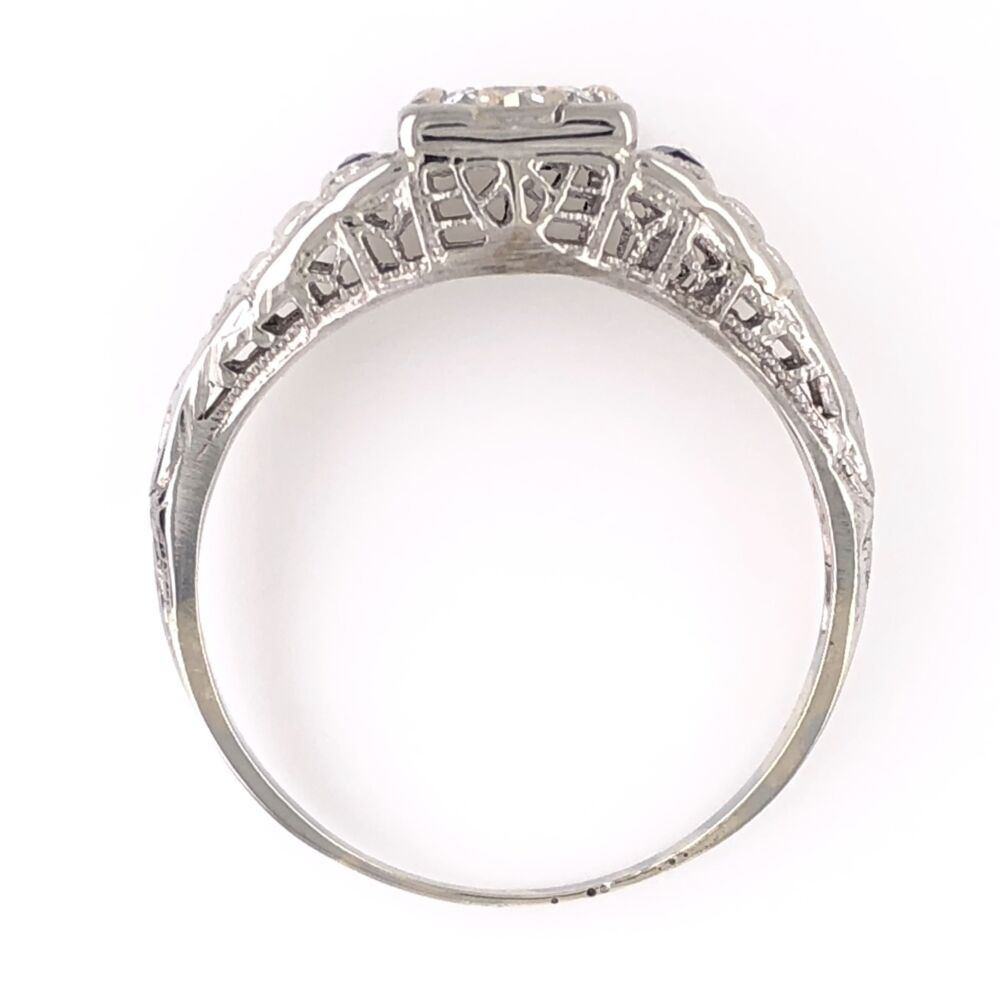 Image 2 for 14K White Gold Art Deco .40ct Old European Cut Diamond & Syn. Sapphire Ring 2.0g, s6.25