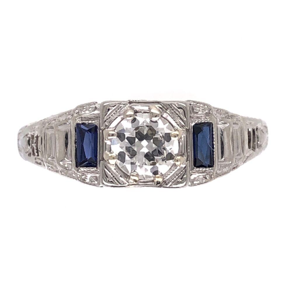 14K White Gold Art Deco .40ct Old European Cut Diamond & Syn. Sapphire Ring 2.0g, s6.25