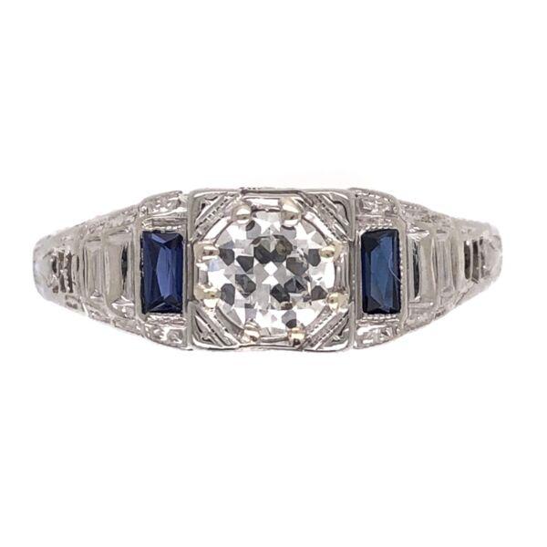Closeup photo of 14K White Gold Art Deco .40ct Old European Cut Diamond & Syn. Sapphire Ring 2.0g, s6.25