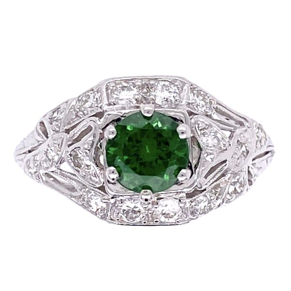 Closeup photo of Platinum Art Deco .78ct Round Tsavorite & .35tcw Diamonds Ring 4.1g, s6