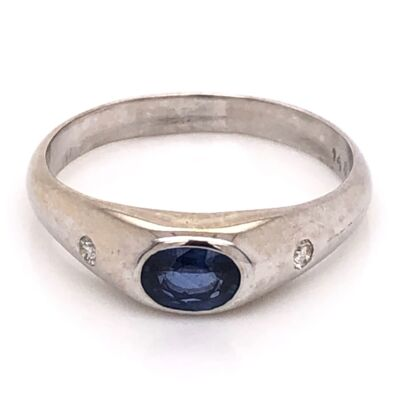 Closeup photo of 14K White Gold Mens 1.00ct Oval Sapphire & .10tcw Diamond Ring 6.5g, s12