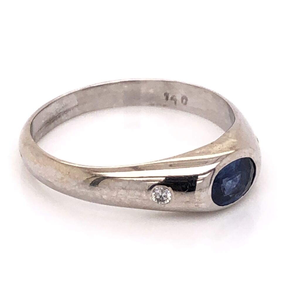 Image 2 for 14K White Gold Mens 1.00ct Oval Sapphire & .10tcw Diamond Ring 6.5g, s12