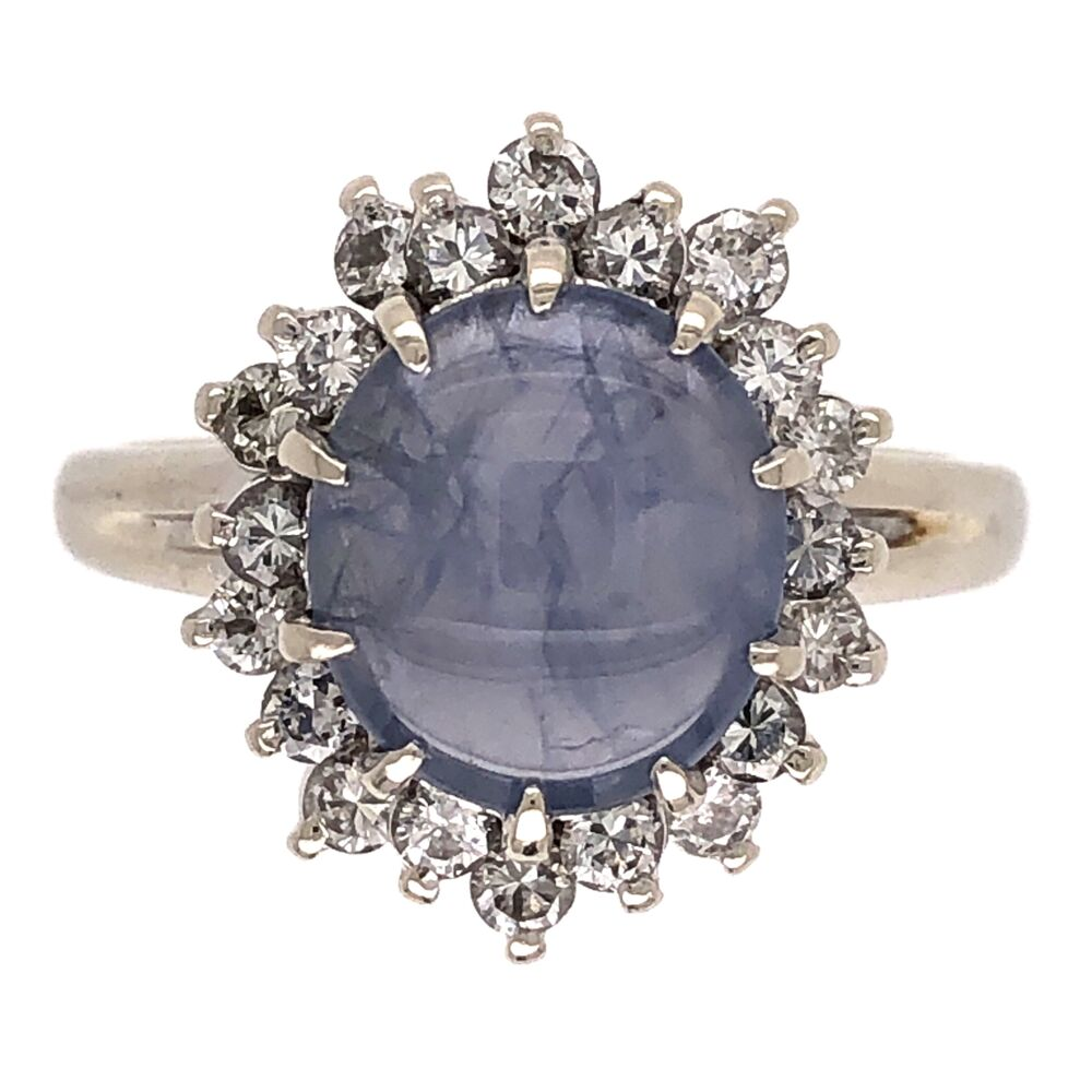 14K White Gold 1950's 2.25ct Round Star Sapphire & .27tcw Diamond Ring 4.3g, s6