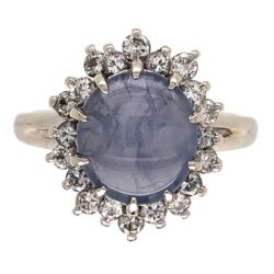 Closeup photo of 14K White Gold 1950's 2.25ct Round Star Sapphire & .27tcw Diamond Ring 4.3g, s6