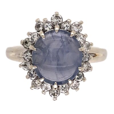 Closeup photo of 14K White Gold 1950's 2.25ct Round Star Sapphire & .27tcw Diamond Ring 4.3g, s6