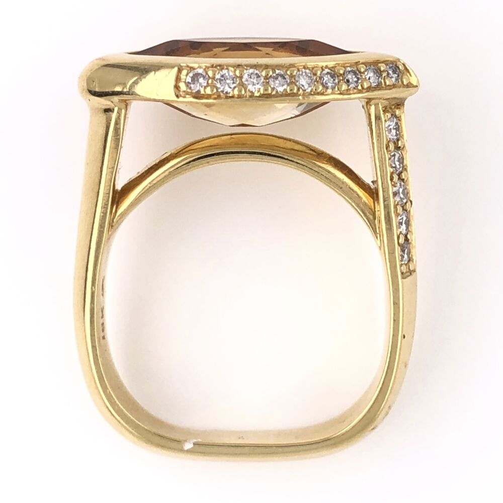 Image 2 for 18K Yellow Gold 3.00ct Marquis Citrine EAST WEST & .40tcw Diamond Ring, s6.25