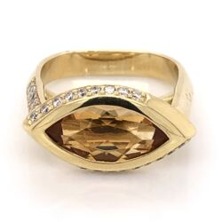 Closeup photo of 18K Yellow Gold 3.00ct Marquis Citrine EAST WEST & .40tcw Diamond Ring, s6.25