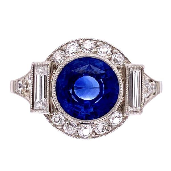 Closeup photo of Platinum Art Deco 2.35ct Round Sapphire & .85tcw Diamond Ring s7
