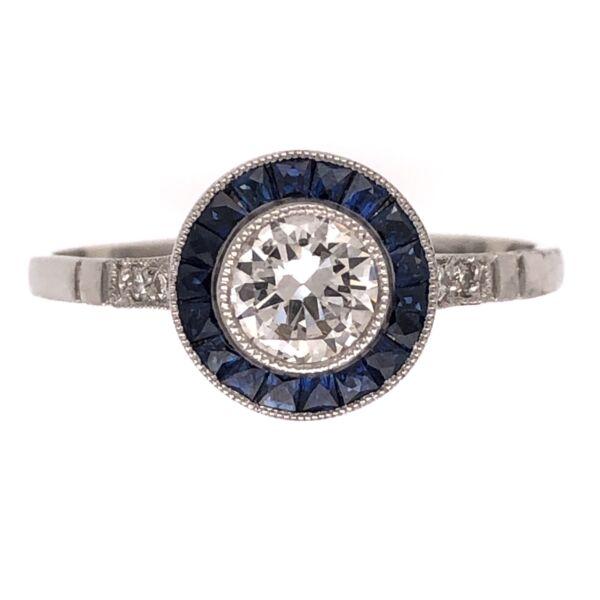 Closeup photo of Platinum Art Deco .43ct Old European Cut Diamond Ring with .38tcw Sapphires