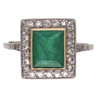 Closeup photo of Platinum .92ct Square Emerald & .36tcw Diamond Ring, s7.5