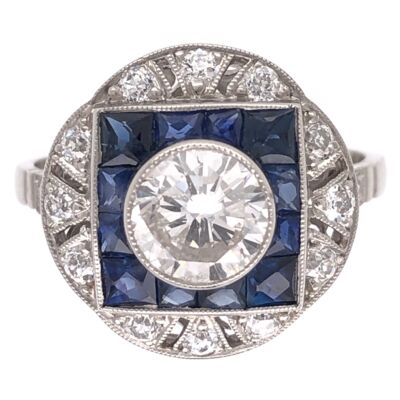 Closeup photo of Platinum Art Deco 1.03ct Diamond Ring with 1.41tcw Sapphires & .46 side Diamonds, s7