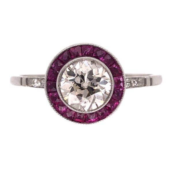 Closeup photo of Platinum Art Deco .78ct Old European Cut & .57tcw Ruby Halo Ring, s7