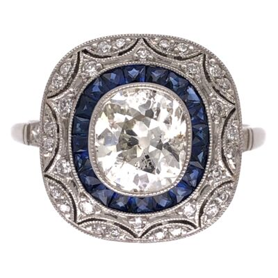 Closeup photo of Platinum Art Deco 1.27ct Old Mine Cushion Diamond, .64tcw Sapphires & .27tcw Side Diamond Ring 5.1g, s7.5