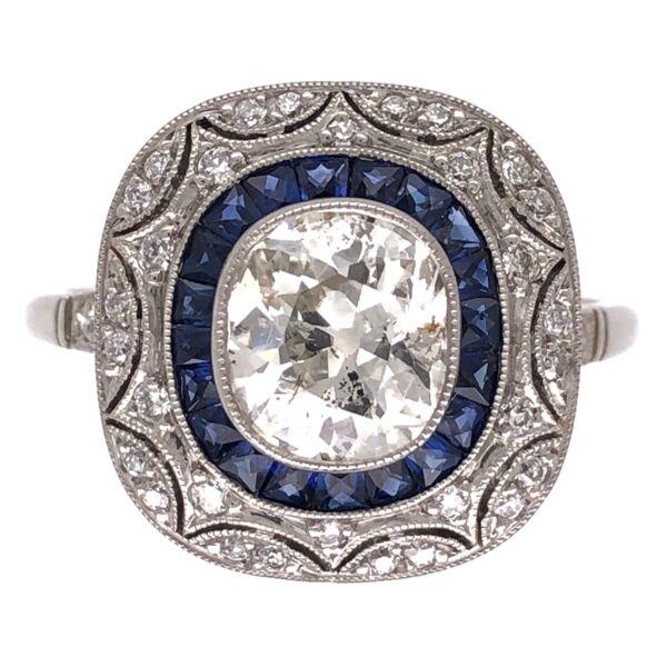 Closeup photo of Platinum Art Deco 1.27ct Old Mine Cushion Diamond, .64tcw Sapphires & .27tcw Side Diamond Ring 5.1g, s7.5