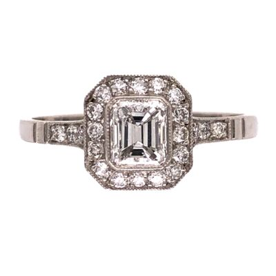 Closeup photo of Platinum Handmade .49ct Emerald Cut Diamond Ring with .44tcw Halo & Side Diamonds, s7