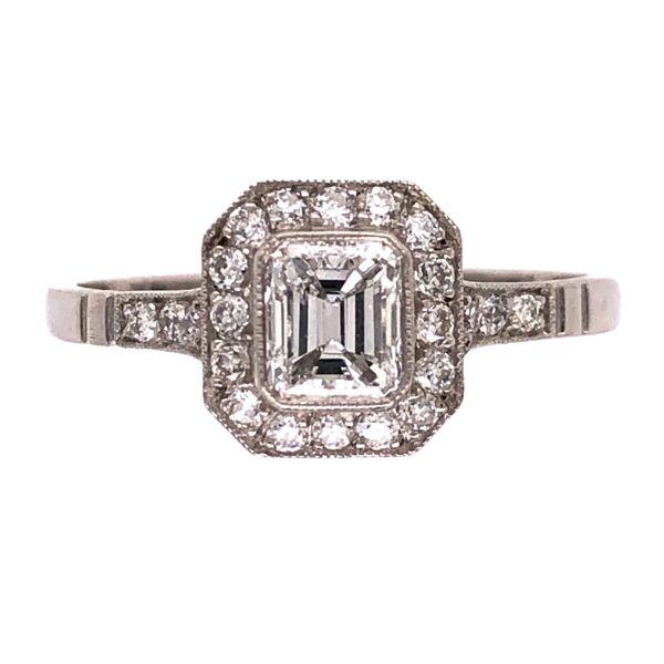 Closeup photo of Platinum Handmade .49ct Emerald Cut Diamond Ring with .44tcw Halo & Side Diamonds, s7