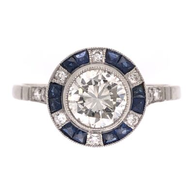 Closeup photo of Platinum Art Deco .87ct Round Diamond, .48tcw Sapphire & .18tcw Side Diamond Ring, s7.5